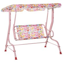 Outsunny Kids Two-Seater Swing Chair Garden Seat w/ Belt Adjustable Canopy Pink