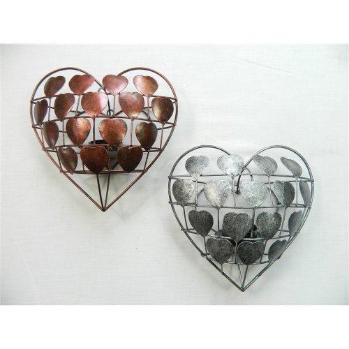 Love-Heart Ornament Wall Art Tealight Holder Sconce