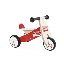 Janod - Wooden Ride-On Little Bikloon - 3 Wheels - Learning Balance and Independence - For children form the Age of 1, J03261, Red and White