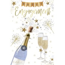 Happy Engagement Champagne Glasses Bunting Design Engagement Card Lovely Verse