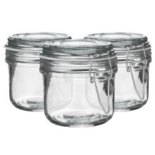 Glass Storage Jars Airtight Clip Top Lid Food Preserve Preserving Jar 200ml x6[White]