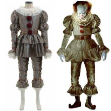 Mens Adults Pennywise Clown Suit Outfit Set Cosplay Costume Fancy Dress Clothes
