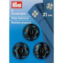 Prym Sew-On Snap Fasteners Brass Black 21 mm