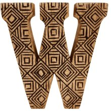 Hand Carved Wooden Geometric Letter W