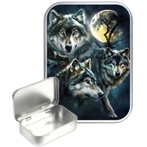 Wolf Prowl 50ml Silver Hinged Tobacco tin, Gift Tin, Storage tin