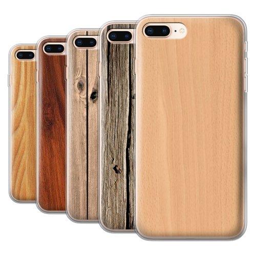 Wood Grain Effect/Pattern Apple iPhone 8 Plus Phone Case Transparent Clear Ultra Soft Flexi Silicone Gel/TPU Bumper Cover for Apple iPhone 8 Plus