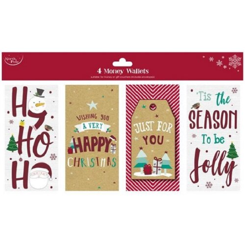 Pack Of 4 Contemporary Christmas Money Wallets