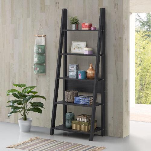 Riva Retro 5 Tier Ladder Bookcase Shelving Shelf Display Unit Black