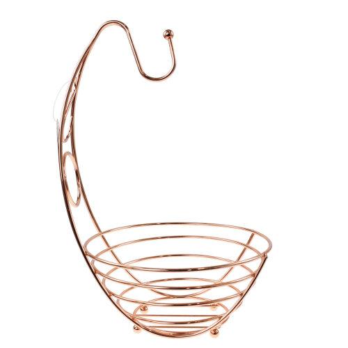 2 In 1 Copper Banana Hook Hanger Tree Fruit Bowl Fruits Vegetables Holder Basket
