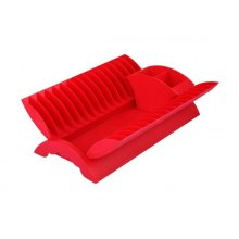 Red - Plate Drainer Kitchen Dish Rack With Cutlery Holder Plastic