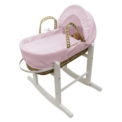 Pink BA Dolls Moses Basket and Stand Toy