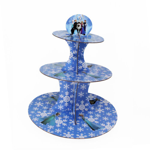 Trimming Shop Frozen Flakes 3 Tier Cupcake Stand Cardboard Round Cake Tower Glass Holders for Children Birthday Parties, Kids Events