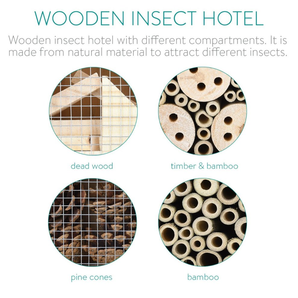 Navaris XL Wooden Insect Hotel 23 x 40 x 7 cm Natural Wood Insect Home