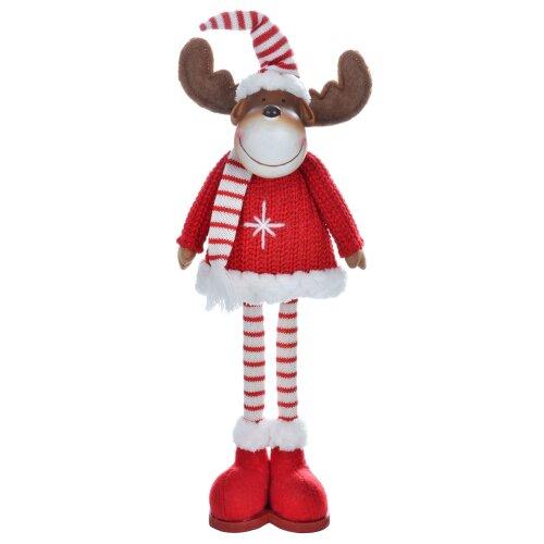 42cm Standing Reindeer Novelty Christmas Decoration Red White Stripe Hat Scarf Resin Head Brown Felt Antlers