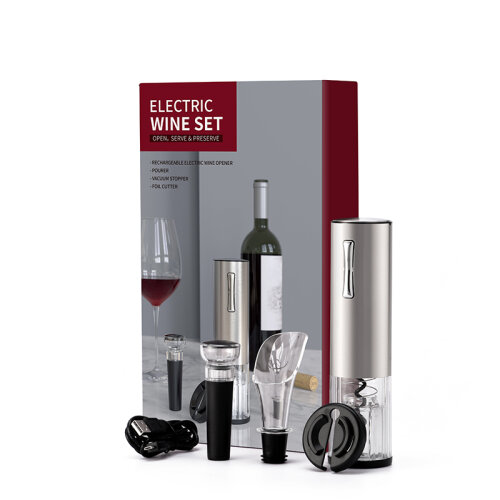 4 in 1 Rechargeable Electric Wine Bottle Opener Set with Gift Box