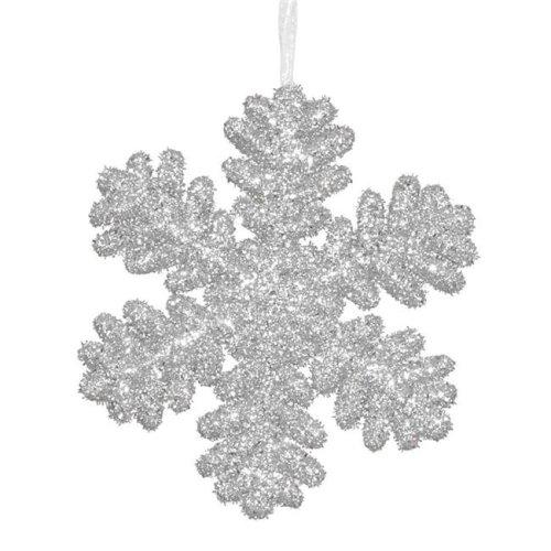 Vickerman M147207 Silver Glitter Snowflake Ornament - 9 in.