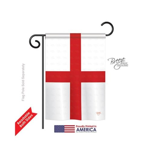 Breeze Decor 58168 England St. Georges Cross 2-Sided Impression Garden Flag - 13 x 18.5 in.