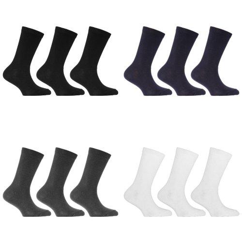 Childrens/Kids Plain Cotton Rich School Socks (Pack Of 3)