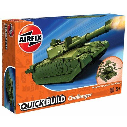 Airfix Quick Build Challenger Tank Model Railway Toy, Green