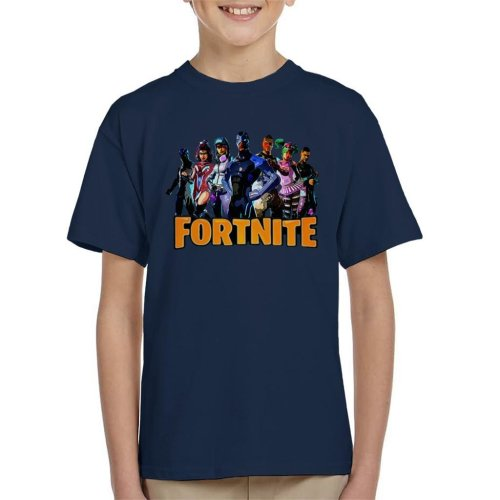 (X-Small (3-4 yrs)) Fortnite Character Montage Kid's T-Shirt