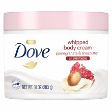 Dove Whipped Body Cream Dry Skin Moisturizer Pomegranate and Shea Butter, Nourishes Skin Deeply, 10 oz
