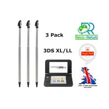 Stylus Pen For Nintendo 3DS XL/LL Metal Extendable Retractable Black 3 Pack
