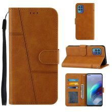Motorola Moto G100 Edges Case Cowhide Texture Leather Case with Card Slots Yellow