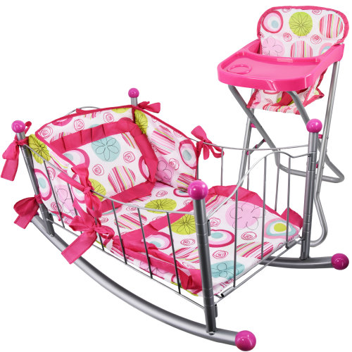 The Magic Toy Shop Dolls High Chair & Dolls Cot Bed Rocking Cradle Set Doll Furniture Pretend Play