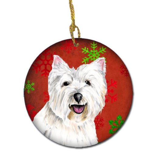 Westie Red Snowflakes Holiday Christmas Ceramic Ornament