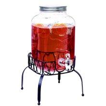 4 Litre Glass Drink Dispenser With Tap & Lid Beverage Dispenser On Metal Stand