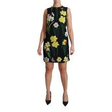 Black Floral Sleeveless Sheath Mini Dress