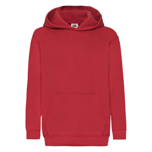 Red Fruit Of The Loom Classic 80/20 Kids Hooded Sweatshirt Fruit Of The Loom? Size 5/6