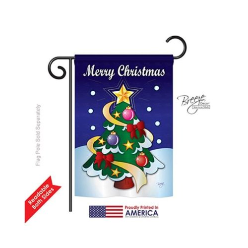Breeze Decor 64071 Christmas Merry Christmas 2-Sided Impression Garden Flag - 13 x 18.5 in.