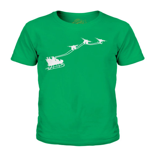(Irish Green, 5-6 Years) Candymix - Drone Santa - Unisex Kid's T-Shirt
