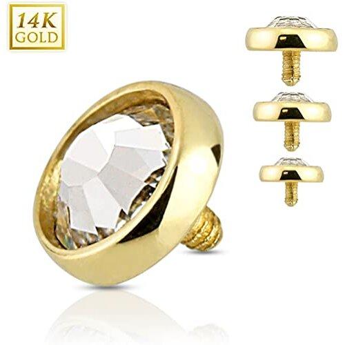 Flat 4mm Dome CZ 14 Karat White Gold Internally Threaded Dermal Anchor Top 1.6mm Body Piercing Jewelry