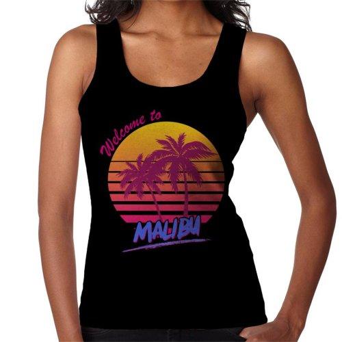 (Small, Black) Welcome To Malibu Retro 80s Women's Vest