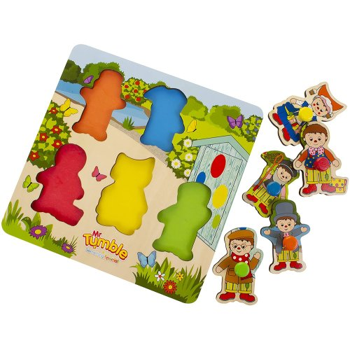 Mr Tumble Something Special Chunky Wooden Peg Puzzle for early learning, colour recognition for toddlers aged 1 year and 2 years