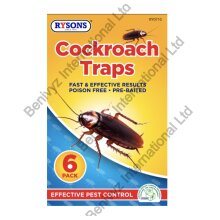 6 X COCKROACH INSECT PEST GLUE TRAPS - POISON FREE - PRE-BAITED