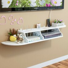 Modern 2 Tier Carved Wall Shelves Durable Shelving Unit DVD Storage F