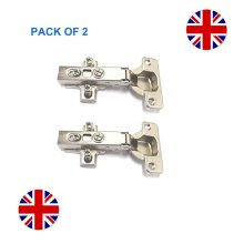 2 SOFT CLOSE HINGE KITCHEN CABINET CUPBOARD DOOR SHUT HINGE PLATE & SCREWS