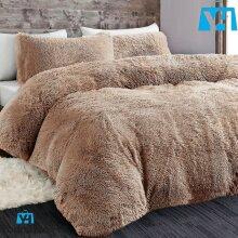 Cuddly Bear Fleece Faux Fur Duvet Cover Set Fluffy Warm Fuzzy Cozy Mink Cuddles