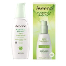 Aveeno Positively Radiant Daily Facial Moisturizer with Broad Spectrum SPF 30 Sunscreen & Total Soy Complex for Even Tone & Texture, Hypoallergenic, O