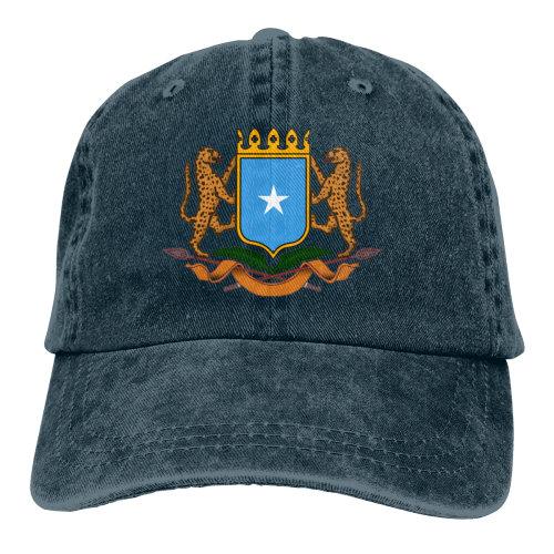 (Navy) Coat Of Arms Somalia Denim Baseball Caps