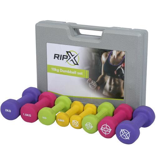 RIP X Dumbbell Weights Set Kit Aerobics Gym Class Workout Ladies Yoga Pilates 10kg