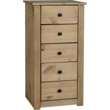 Seconique Panama Solid Waxed Pine 5 Drawer Chest
