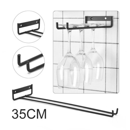 2x Iron Wine Glass Holder Hanging Rack Storage For Cabinet and Bar