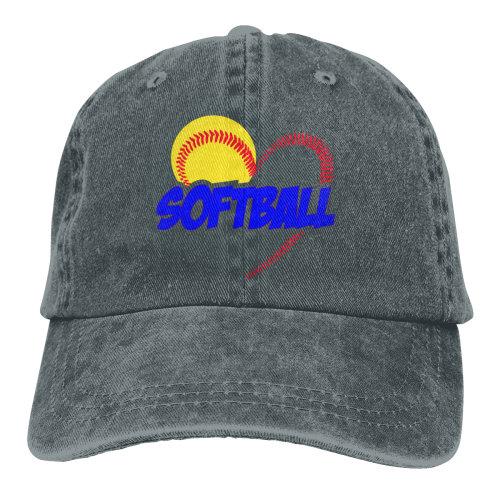 Blue Love Softball Denim Baseball Caps