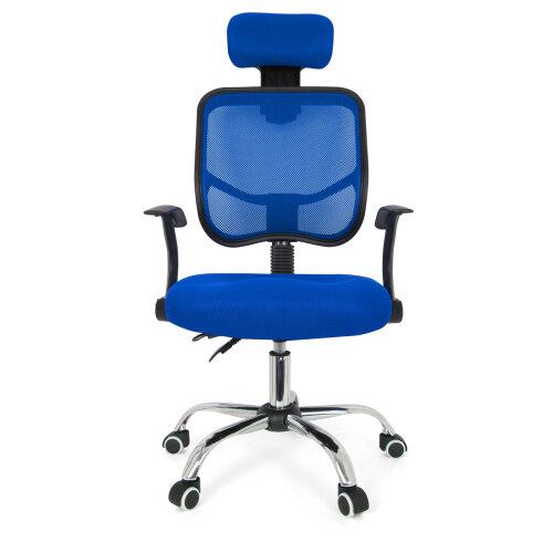 (Blue) Computer Office Chair Adjustable Swivel Recliner