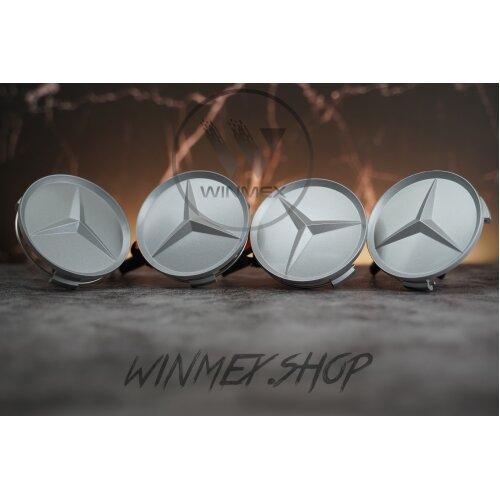 Set of 4 Silver Matt Mercedes alloy wheel caps 75mm