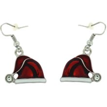 Red Enamel and Crystal Father Christmas Santa Claus Hat Earrings